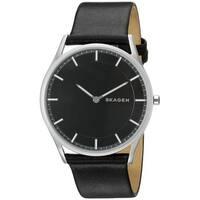 Skagen Men's  'Holst Slim' Black Leather Watch