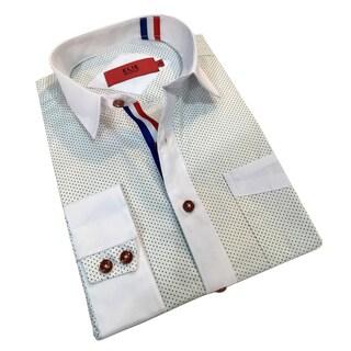 Elie Balleh Men's Milano Italy White Dot Slim Fit Shirt