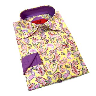 Elie Balleh Men's Milano Italy Multicolor Paisley Print Slim Fit Shirt (Option: Yellow, S)