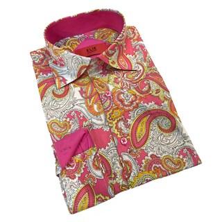 Elie Balleh Milano Italy Men's Pink Paisley Slim Fit Shirt