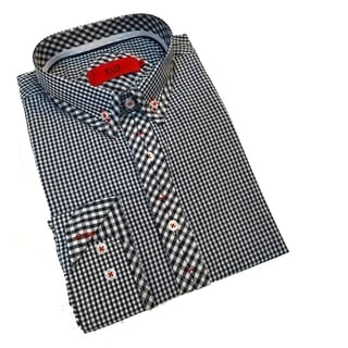 Elie Balleh Boy's Milano Italy Black and White Gingham Pring Slim Fit Shirt
