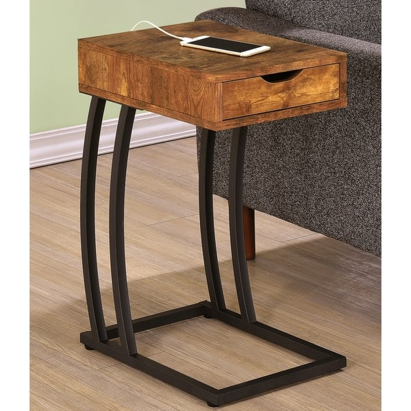 Antique Storage Drawer Snack Accent Table With Power Strip