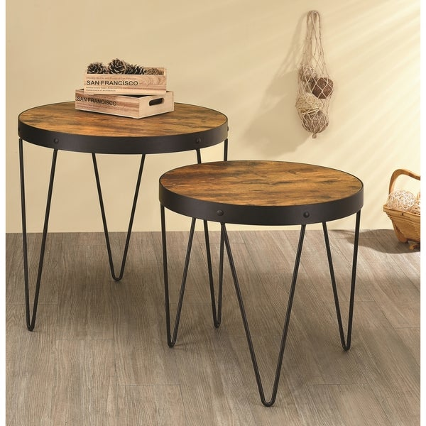 Kasreal Round Honey Cherry 2 Piece Nesting Table Set