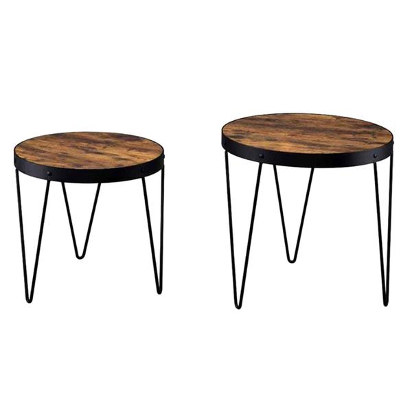 Kasreal Round Honey Cherry 2 Piece Nesting Table Set   Free Shipping Today    Overstock.com   17719521