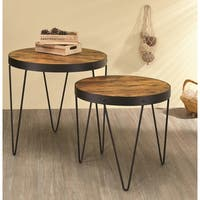 Kasreal Round Honey Cherry 2-piece Nesting Table Set