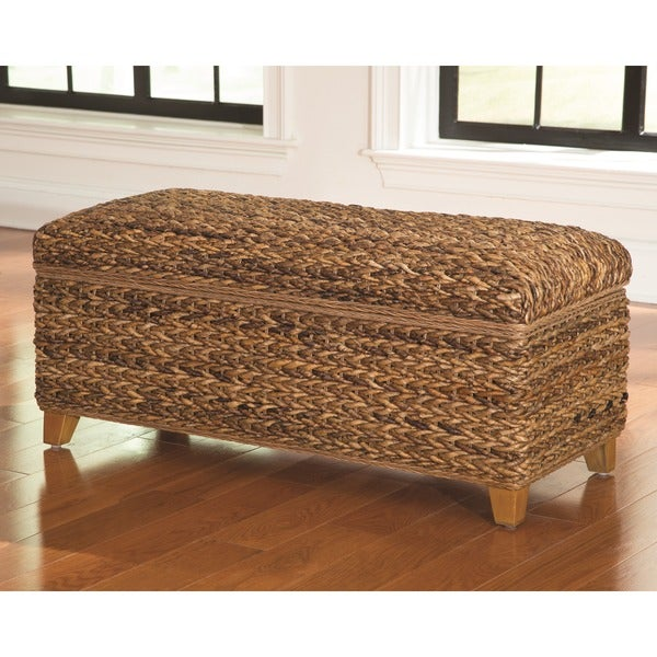 Shop Tropical Natural Hand Woven Banana Leaf Storage Trunk Free - Banana leaf coffee table