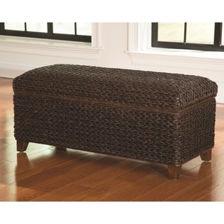 Tropical Dark Brown Hand Woven Banana Leaf Storage Trunk