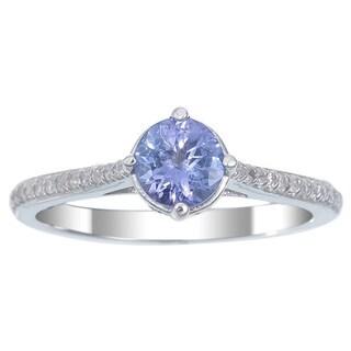 14k White Gold Tanzanite and 1/5ct TDW Diamond Halo Ring (I-J, I1-I2) (Size 7)