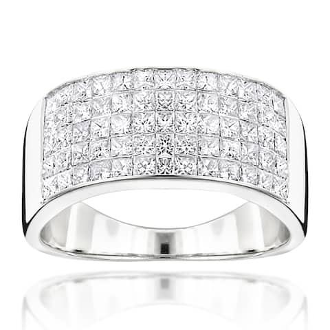 Luxurman 14k Gold Men's 2 1/10ct TDW Princess-cut Diamond Wide Wedding Band