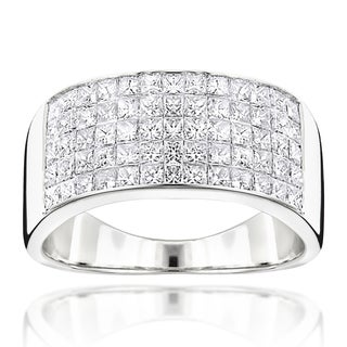 Luxurman 14k Gold Men's 2 1/10ct TDW Princess-cut Diamond Wide Wedding Band (G-H, VS1-VS2)