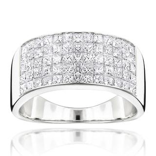 Luxurman 14k Gold Men's 2 1/10ct TDW Princess-cut Diamond Wide Wedding Band (G-H, VS1-VS2)