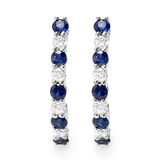 Elora 10k White Gold 1/2ct TDW Round Diamond and Blue Sapphire J-shaped Hoop Earrings (H-I, I1-I2)