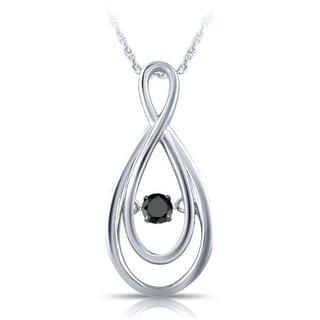 Elan Sterling Silver 1/10ct TDW Black Dancing Diamond Pendant