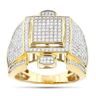 Luxurman 10k Gold Men's 1 3/4ct TDW Diamond Round Pave-set Diamond Ring (4 options available)