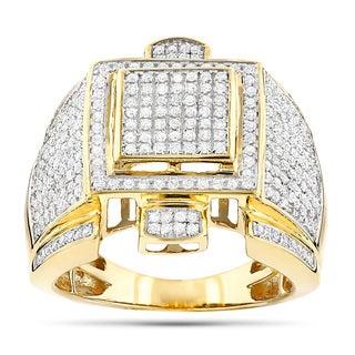 Luxurman 10k Gold Men's 1 3/4ct TDW Diamond Round Pave-set Diamond Ring