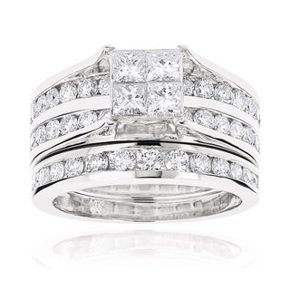 Luxurman 14k Gold 2 4/5ct TDW Channel-set Round and Princess Diamond Engagement Ring Set