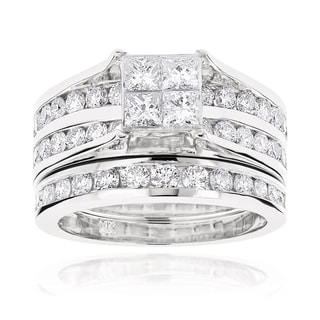 Luxurman 14k Gold 2 4/5ct TDW Channel-set Round and Princess Diamond Engagement Ring Set (G-H, VS1-V