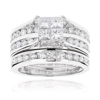 Luxurman 14k Gold 2 4/5ct TDW Channel-set Round and Princess Diamond Engagement Ring Set