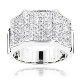 Luxurman 14k Gold Men's 2ct TDW Pave Diamond Ring