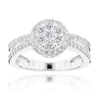 Luxurman 14k Gold 1ct TDW Diamond Flower Cluster Ring (G-H, SI1-SI2)