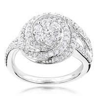Luxurman 14k White Gold 1 1/6ct TDW Round Diamond Ring