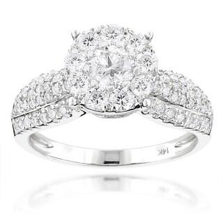 Luxurman 14k White Gold 1 3/4ct TDW Round Diamond Halo Engagement Ring (G-H, SI1-SI2)