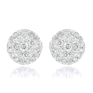 Luxurman 14k Gold 1 3/4ct TDW Diamond Cluster Earrings