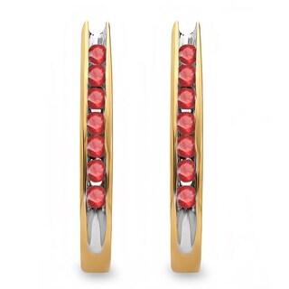 10k Yellow Gold 1/4ct Round Ruby Fancy J-shaped Hoop Earrings