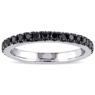 Miadora 14k White Gold 1/2ct TDW Black Diamond Eternity Ring