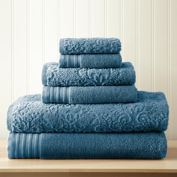 Amraupur Overseas 6-Piece Jacquard/Solid Boho Towel Set