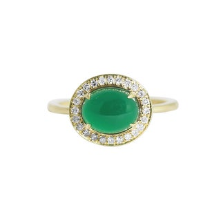 14k Yellow Gold Green Onyx and 2 2/5ct TDW Diamond Ring