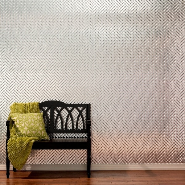 Fasade Diamond Plate Brushed Aluminum 4x8-foot Wall Panel. Opens flyout.