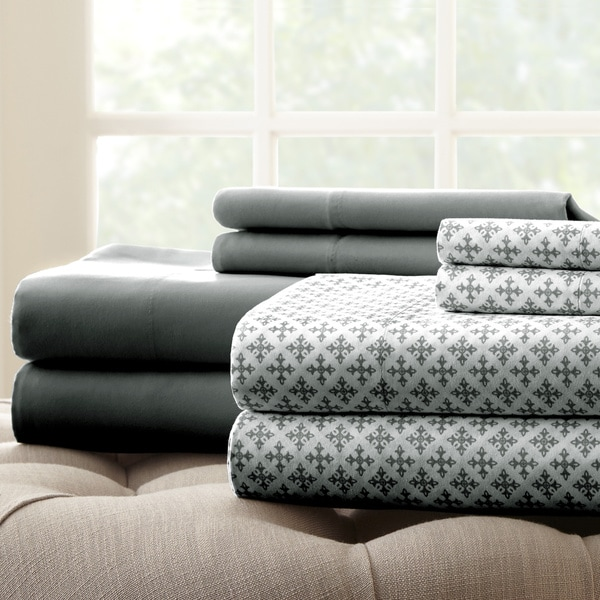 Amraupur Overseas 8 Piece Printed/Solid Floral Sheet Set