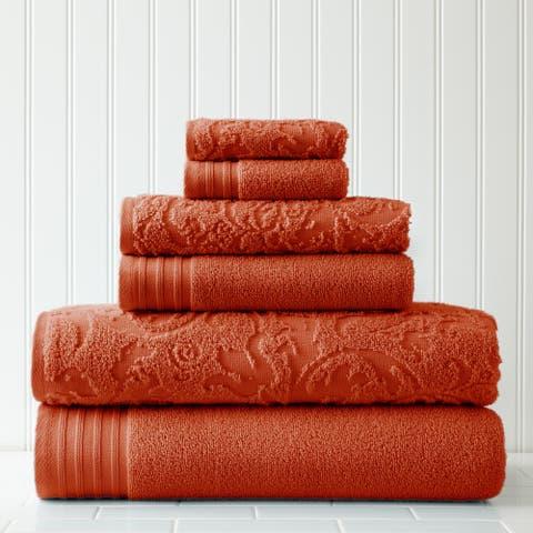 Modern Threads 6-Piece Jacquard/Solid Leaf Swirl Towel Set