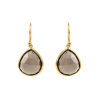 Goldplated Sterling Silver Smoky Quartz Dangle Earrings