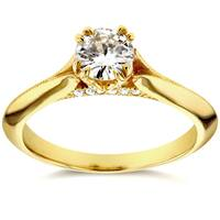 Annello by Kobelli 14k Yellow Gold 1/2ct TDW Diamond Antique Floral Soft Knife Edge Engagement Ring