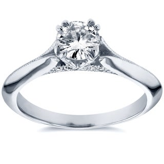 Annello 14k White Gold 1/2ct TDW Diamond Antique Floral Soft Knife Edge Engagement Ring (H-I, I1-I2)
