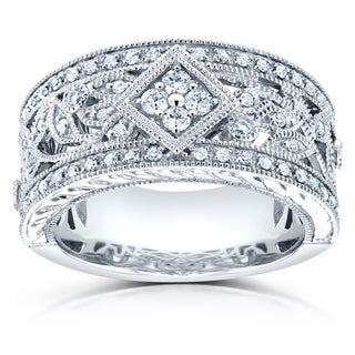 Annello 14k White Gold 3/8ct TDW Diamond Vintage Floral Anniversary Wide Ring (G-H, I1-I2)
