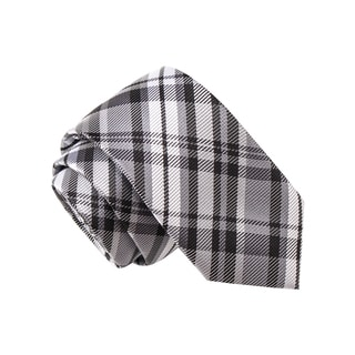 Skinny Tie Madness Men's Buffalo Bill Grey Plaid Tie