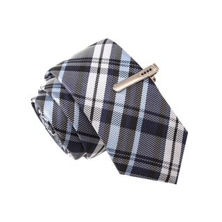 Skinny Tie Madness Men's Mutombo's Finger Blue Plaid Tie with Tie Clip