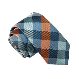 Skinny Tie Madness Men's Phallic Fallacy Blue Plaid Tie