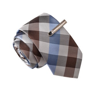Skinny Tie Madness Men's Drunk at Noon White Plaid Tie with Tie Clip