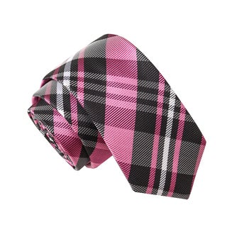 Skinny Tie Madness Men's Sober at Midnight Pink Plaid Tie
