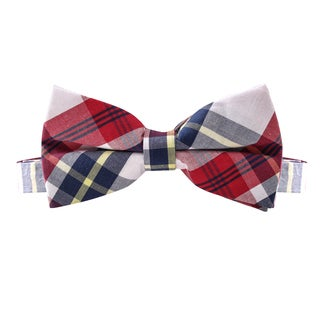 Skinny Tie Madness Men's Sandman Red Plaid Bowtie (Pre Tied)