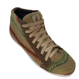 Andiz Women's Size-15 Handmade Multi-colored High-top Wool Shoes (Ecuador)