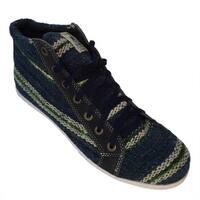 Handmade Andiz Women's Size-15 Handmade Multi-colored High-top Wool Shoes (Ecuador)