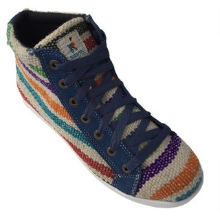 Andiz Women's Size-11 Handmade Multi-colored High-top Wool Shoes (Ecuador)