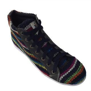 Andiz Women's Size-12 Handmade Multi-colored High-top Wool Shoes (Ecuador)