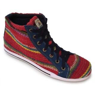 Andiz Women's Size-13 Handmade Multi-colored High-top Wool Shoes (Ecuador)