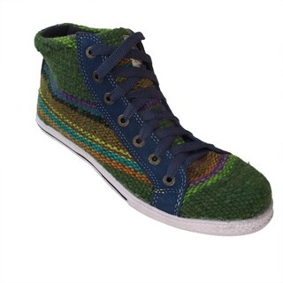 Andiz Women's Size-13 Handmade Multi-colored High-top Wool Shoes (Ecuador)